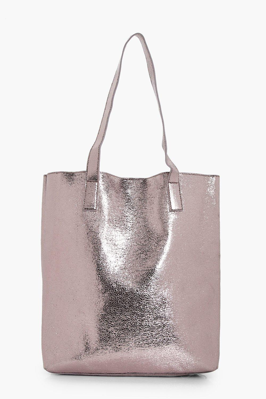 Metallic Textured Shopper Bag - pewter - Amy Metal