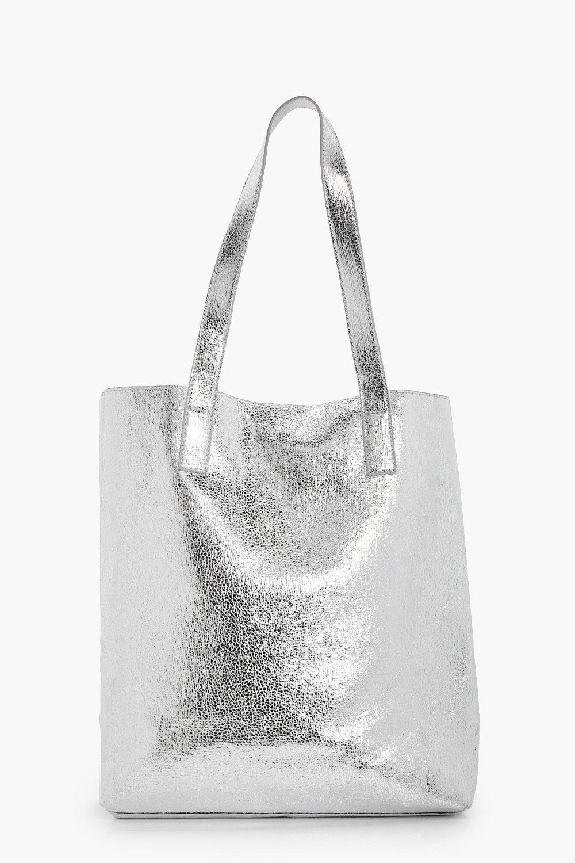 Metallic Textured Shopper Bag - silver - Amy Metal