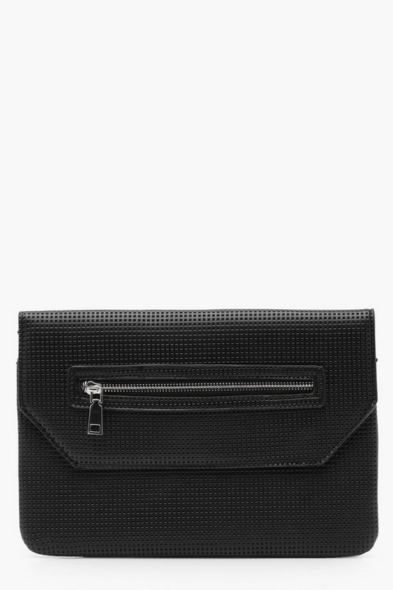 Perforated Zip Clutch Bag