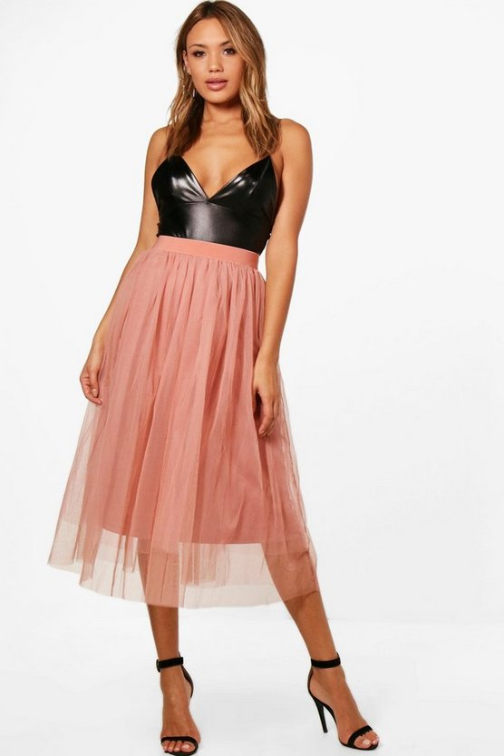 Boutique Dana Full Tulle Midi Skirt
