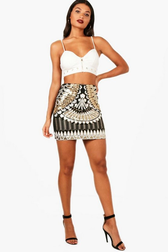 Rosa Geo Sequin Embellished Mini Skirt
