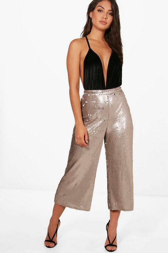 Becky All Over Sequin Wide Leg Culottes