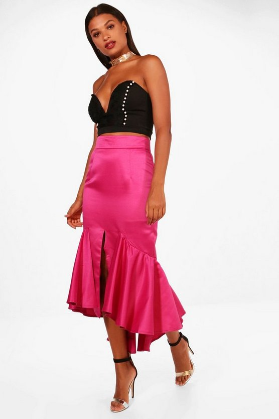 Em Drop Hem Matte Satin Fishtail Midi Skirt