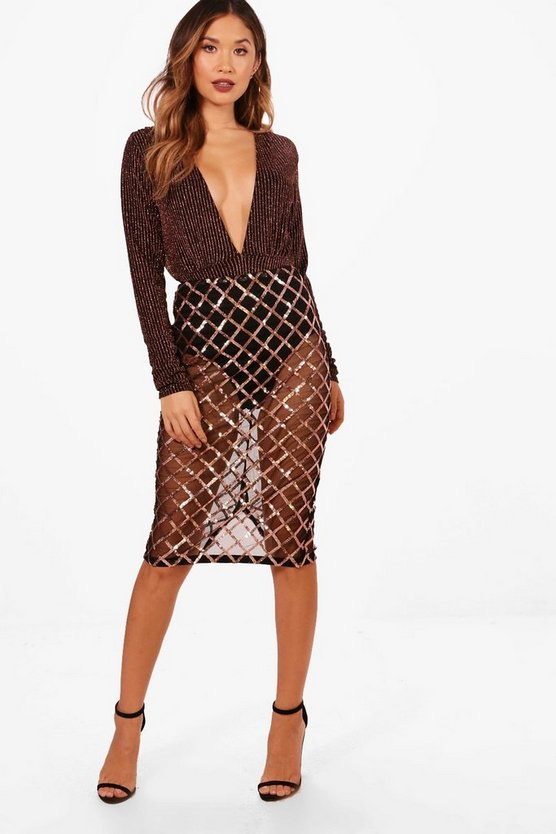 May Sequin Grid Midi Skirt