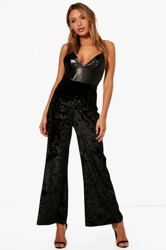 Em Crushed Velvet Slouchy Wide Leg Trousers