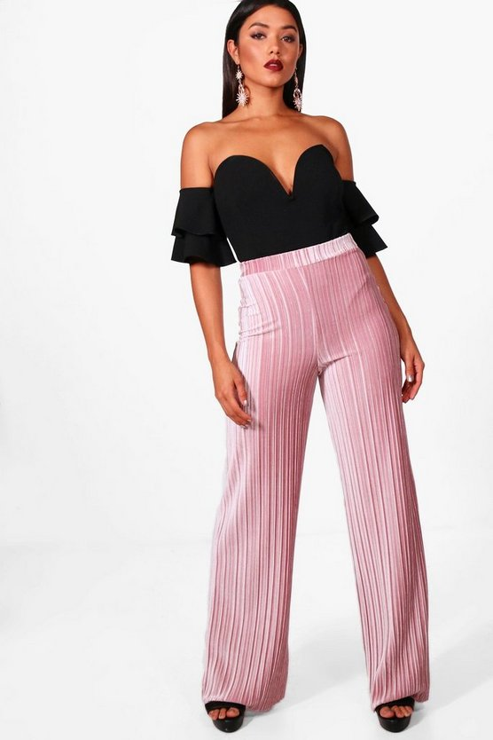 Pleated Velvet Wide Leg Culottes