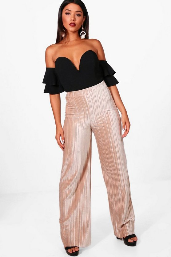 Amie Pleated Velvet Wide Leg Culottes