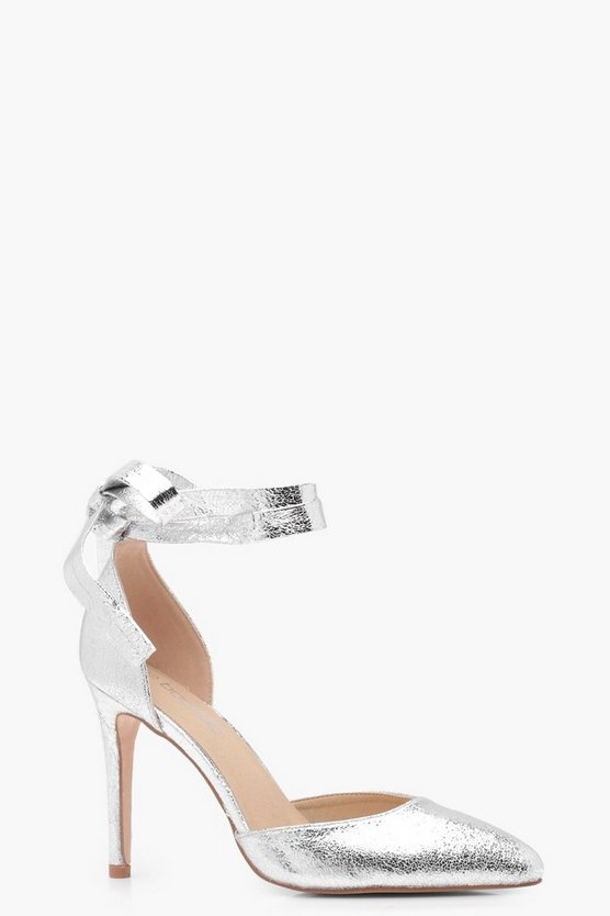 Faye Cracked Metallic Pointed Wrap Heels