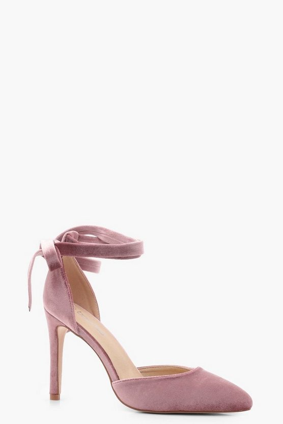 Anya Velvet Pointed Toe Wrap Heels