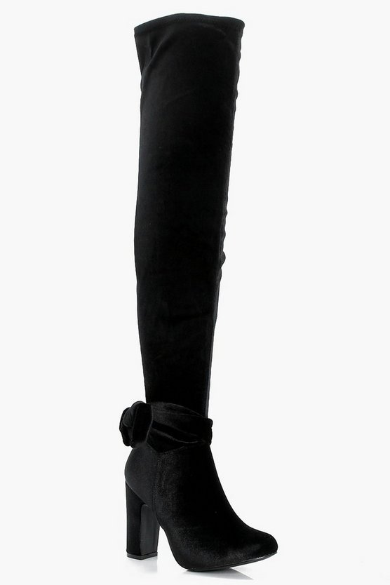 India Bow Trim Velvet Over the Knee Boot