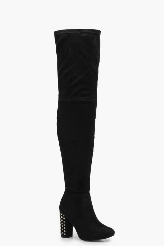 Alicia Studded Block Heel Over the Knee Boots