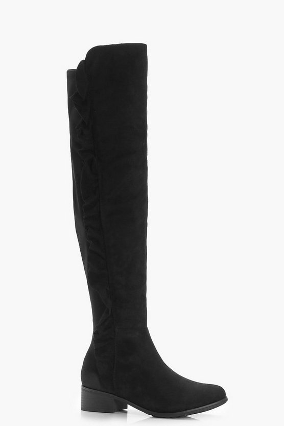 Violet Ruffle Side Flat Over the Knee Boots