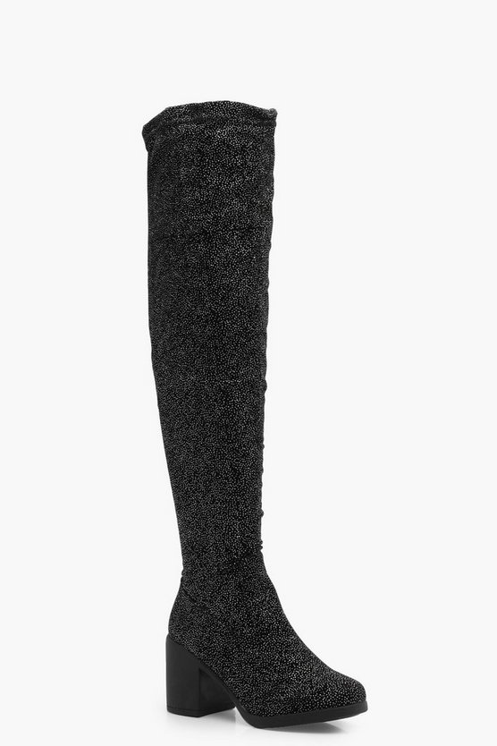 Vanessa Glitter Spotted Velvet Over the Knee Boot