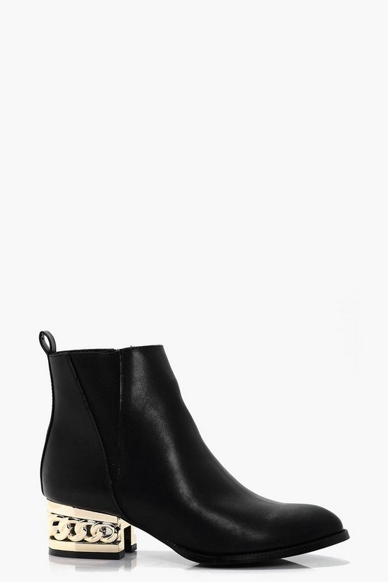 Victoria Chain Block Heel Ankle Boot