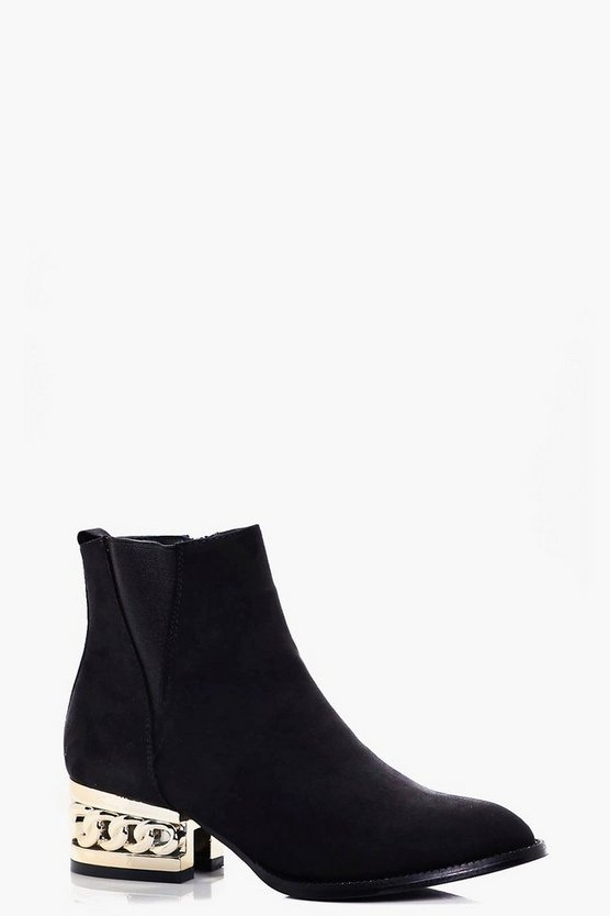 Alexandra Chain Block Heel Ankle Boot