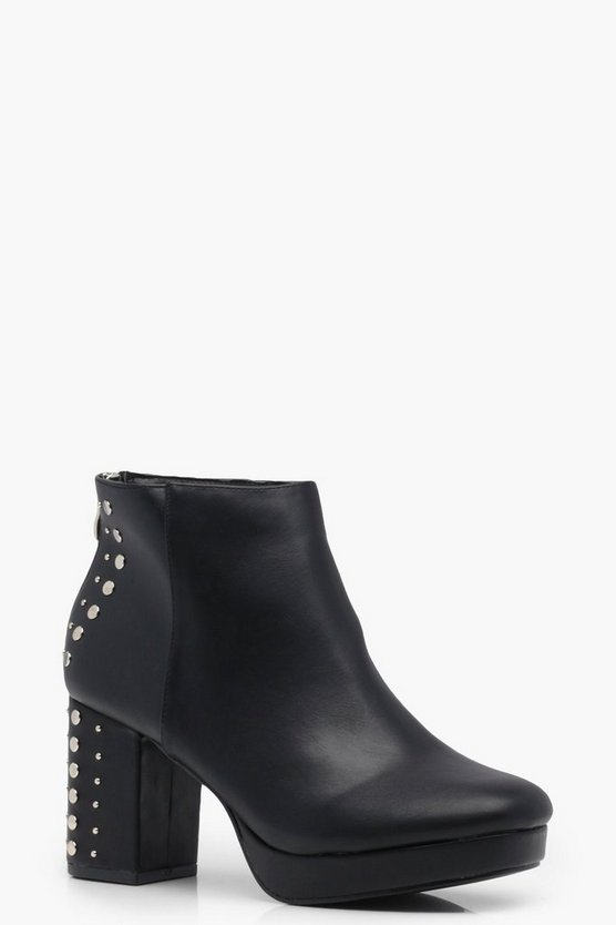 Libby Stud Detail Platform Ankle Boots