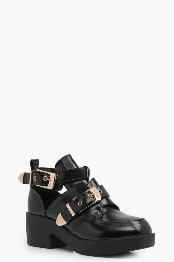 Alexis Double Buckle Cut Work Chunky Boots