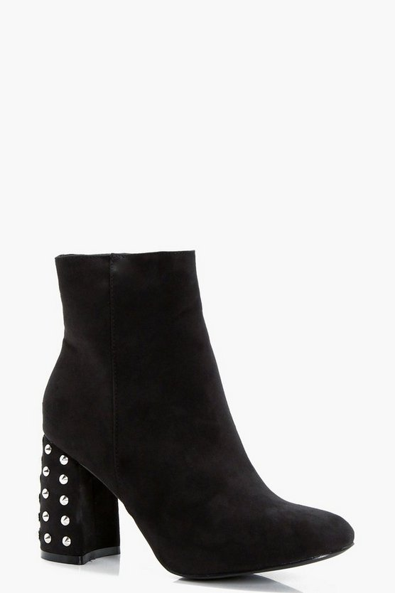 Frances Studded Heel Ankle Boot