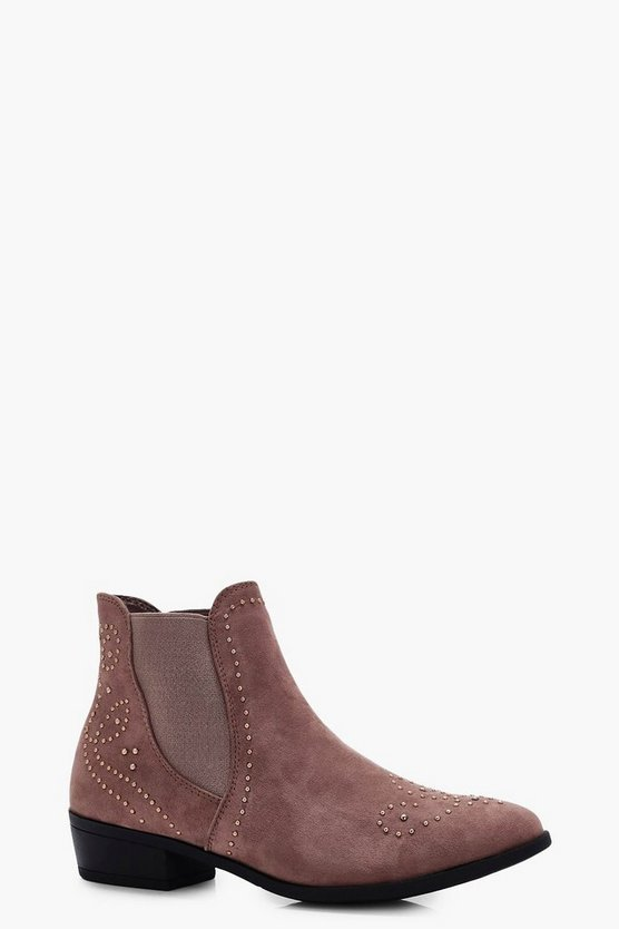 Kayla Pin Stud Western Detail Ankle Boots