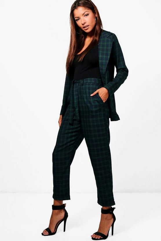 Check Woven Belted Trouser