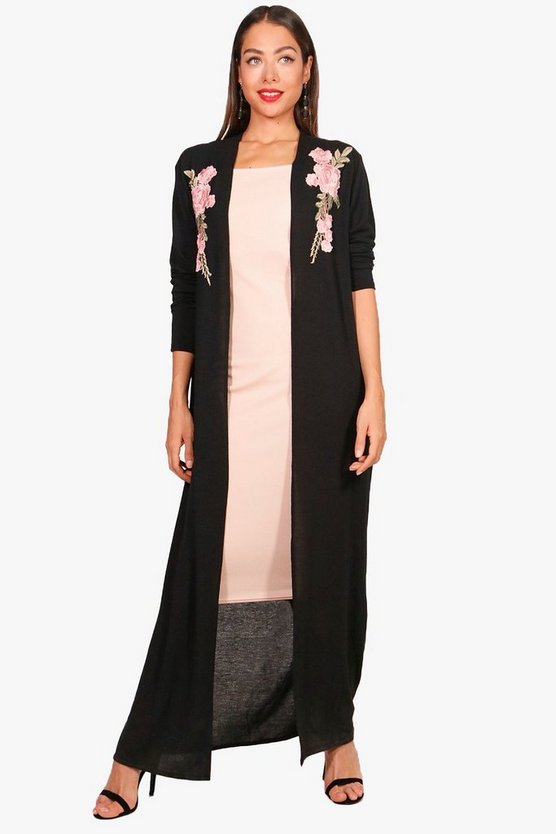 Embroidered Maxi Cardigan