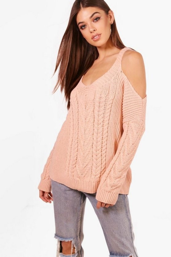 Phoebe Cable Knit Cold Shoulder Jumper