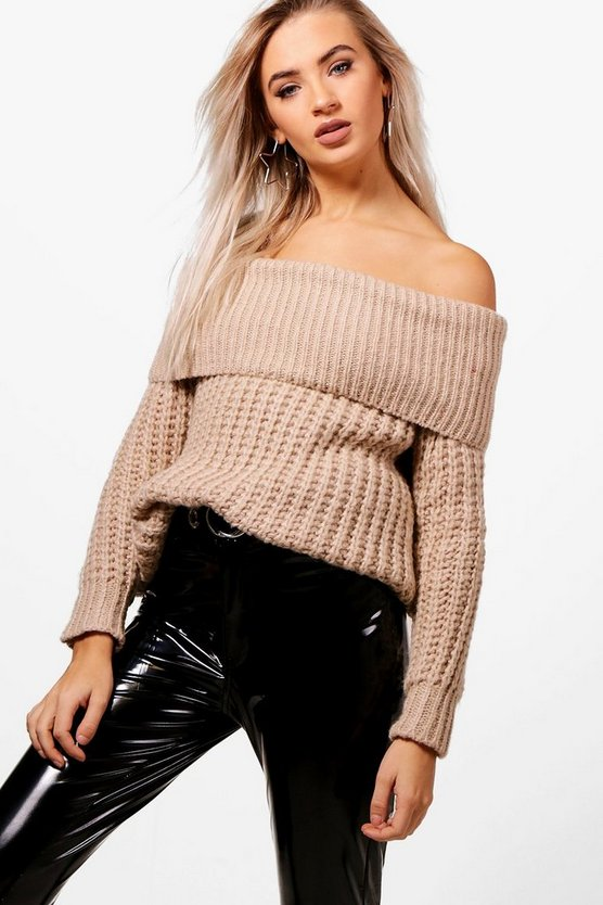 Tiffanie Soft Knit Marl Bardot Jumper
