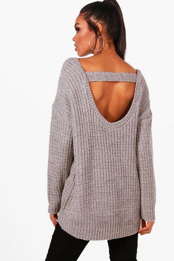 Lucy Oversized Strap Back Chunky Knit Jumper
