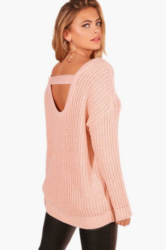 Oversized Strap Back Chunky Knit Jumper