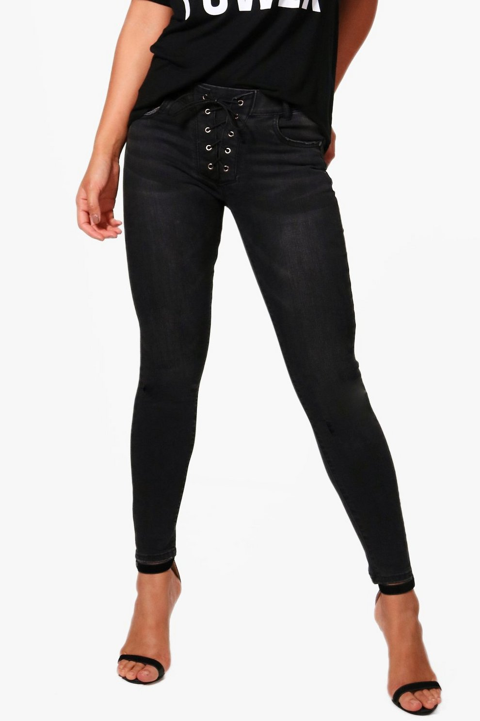 Outlet Visit Boohoo Lace Up Detail Skinny Jeans Clearance Affordable Clearance Official Site Purchase Cheap Online Authentic Cheap Online zAKRKxPC