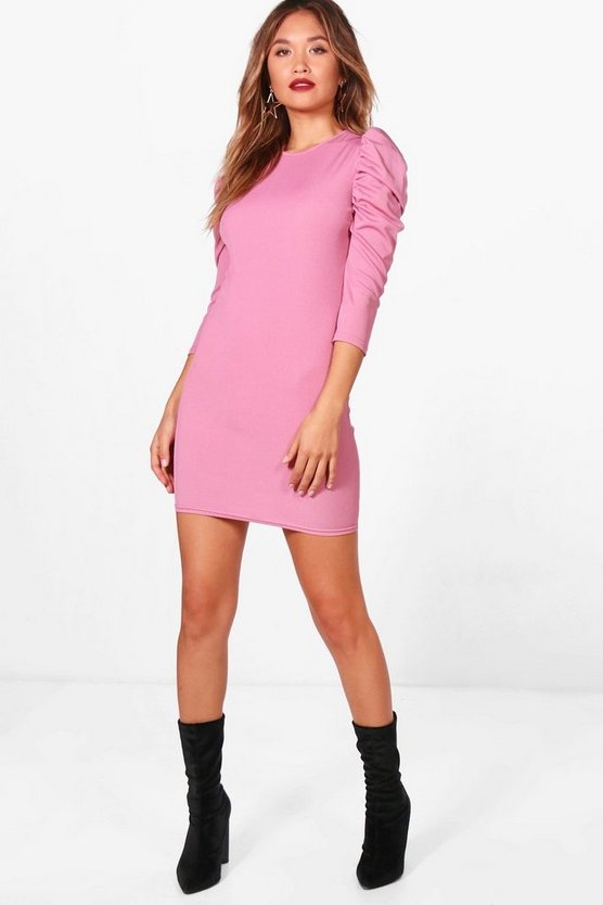 Puff Sleeve Ribbed Bodycon Dress