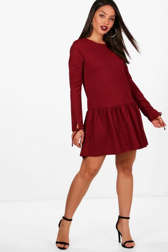 Anna Drop Hem Tie Sleeve Shift Dress