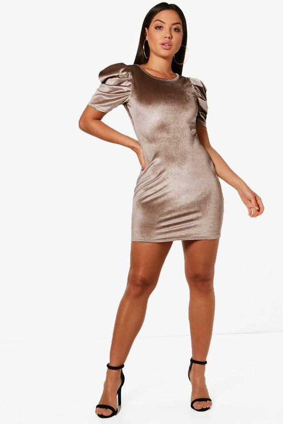 Hanna Velvet Balloon Sleeve Shift Dress