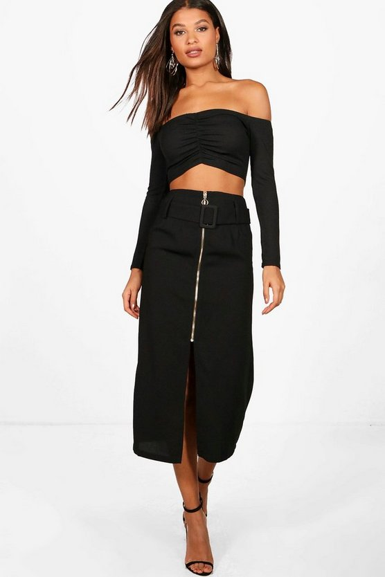 Klaudia Buckle Front Split Zip Detail Midi Skirt