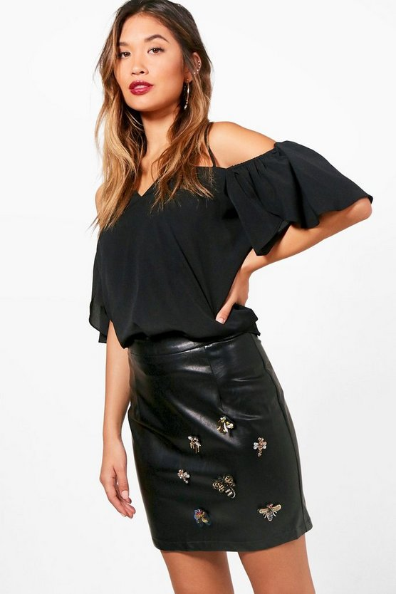 Embellished Leather Look Mini Skirt