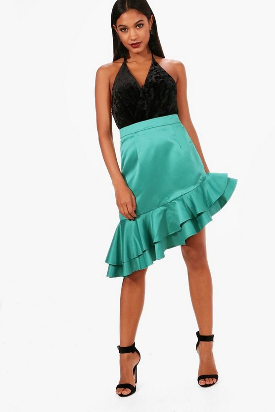 Milly Matte Satin Drop Ruffle Hem Midi Skirt