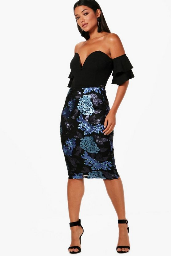 Emy Sequin Floral Midi Skirt