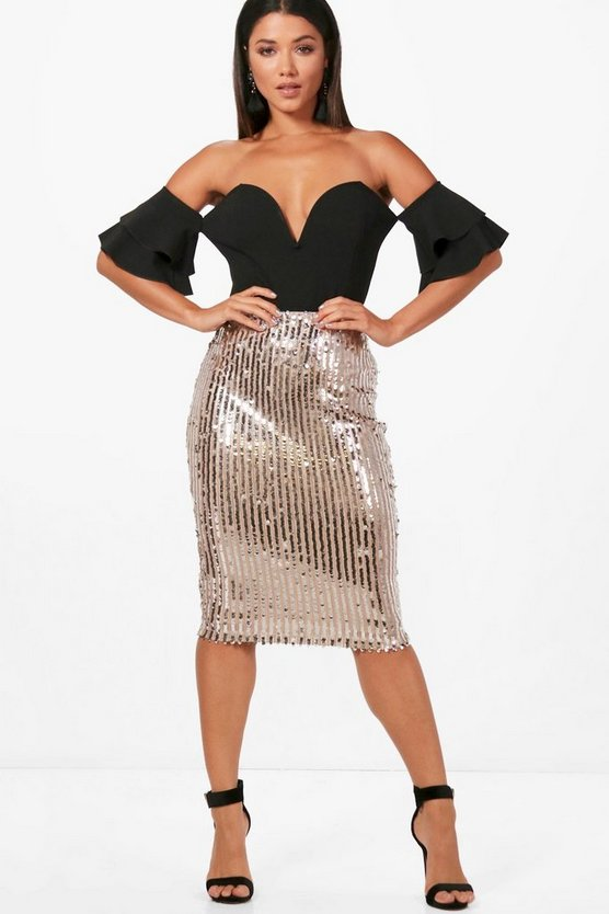 Isobel Sequin Stripe Midi Skirt