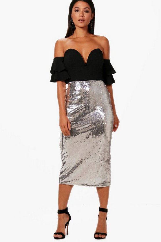 Georgia All Over Sequin Long Line Midi Skirt