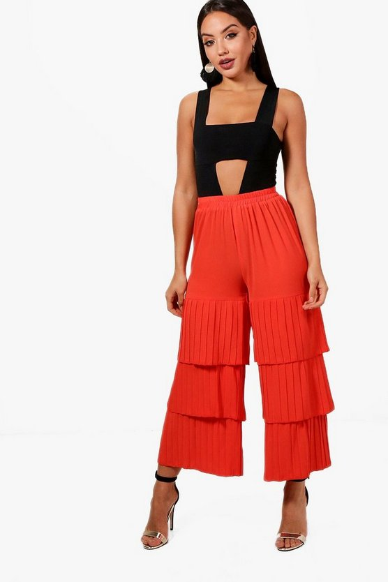 Freya Pleated Tiered Woven Culottes