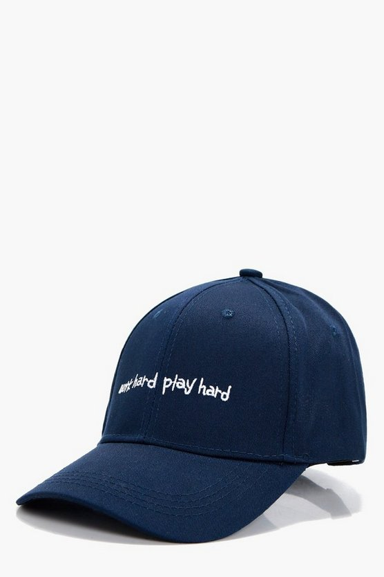 Rosina Work Hard Play Hard Slogan Cap