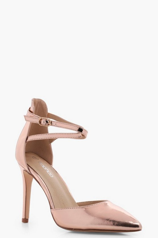 Niamh Wide Fit Metallic Ankle Band Court Heels