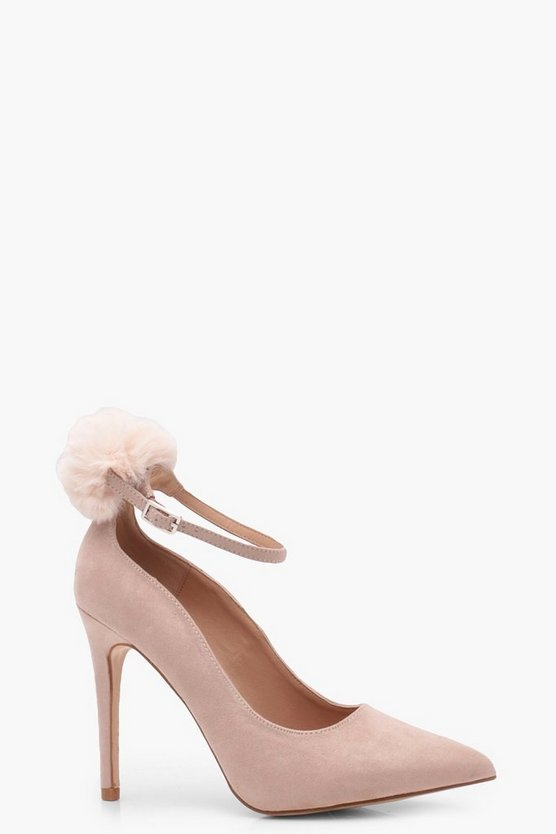 Willow Pom Pom Trim Pointed Ankle Court Shoes