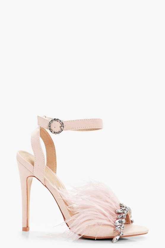 Saskia Diamante & Feather Trim Heels