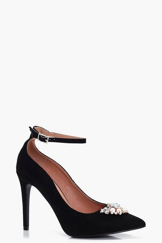 Leah Pearl & Diamante Trim Pointed Toe Courts