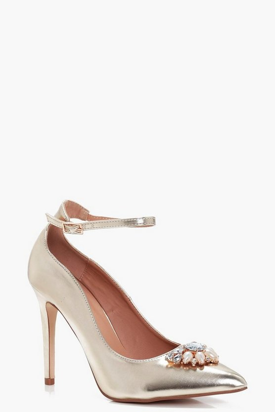 Gracie Pearl & Diamante Trim Pointed Toe Courts