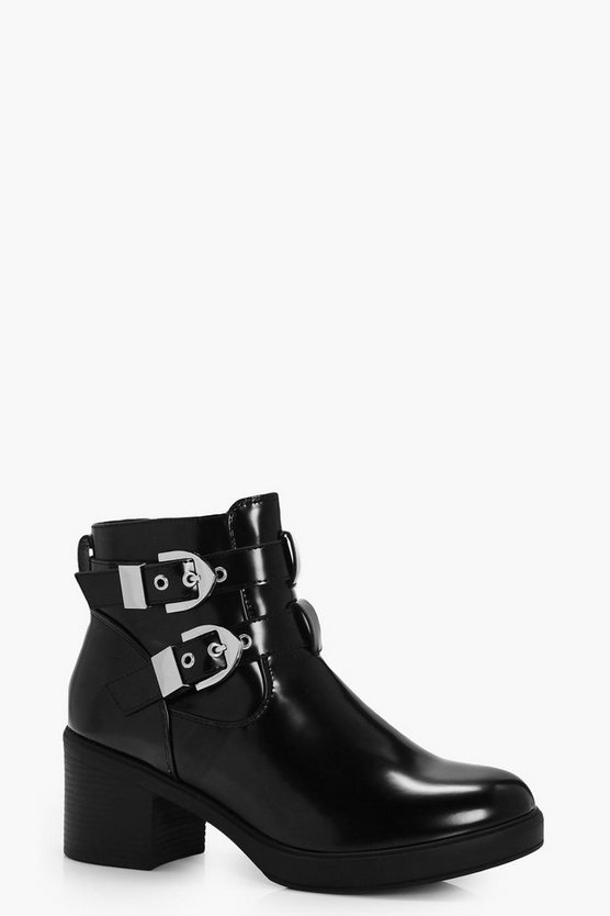 Cut Work Buckle Trim Chunky Boots