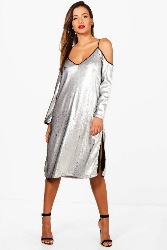 Daffy Sequin Cold Shoulder Midi Dress