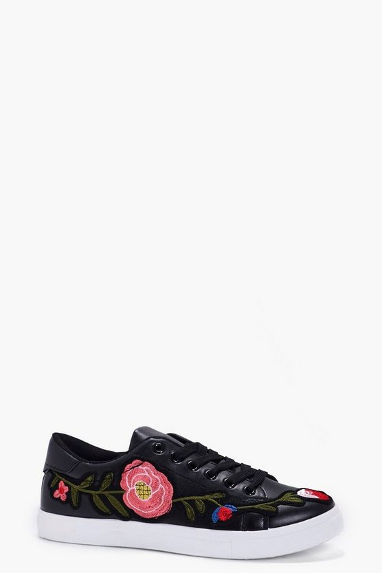 Alice Embroidered Lace Up Trainer