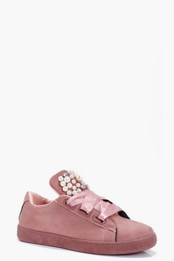 Millie Pearl & Diamante Ribbon Lace Trainer